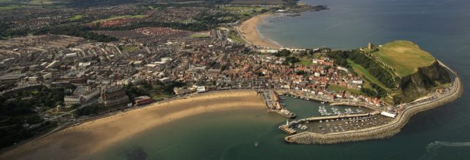 aerial photograph of Scarborough Yorkshire England UK